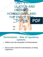 ENDOCRINE REGULATION AND CONTROL BIOLOGY HOMEOSTASIS
