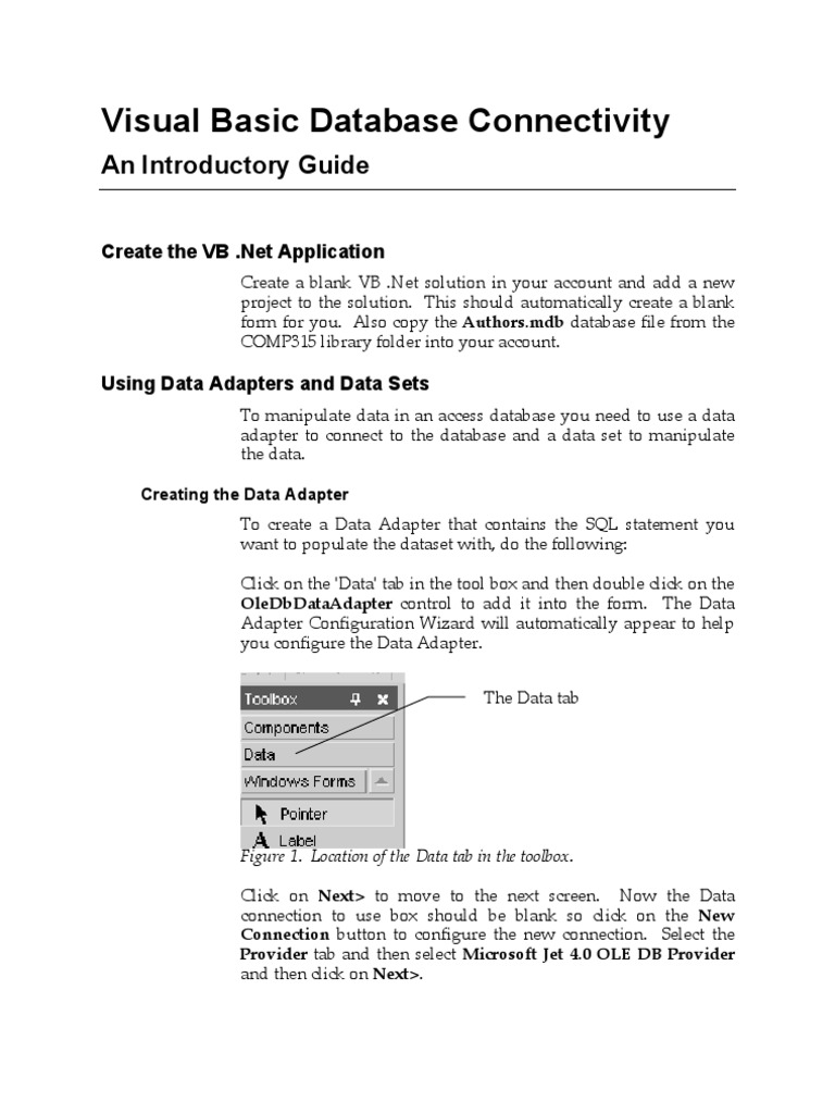 Visual Basic Database Connectivity Guide 315 | Databases | Sql