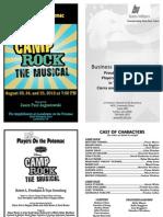 POP Camp Rock Playbill Summer 2012