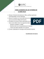 Indicaciones para la reserva de tutorías en Villa 2013-2