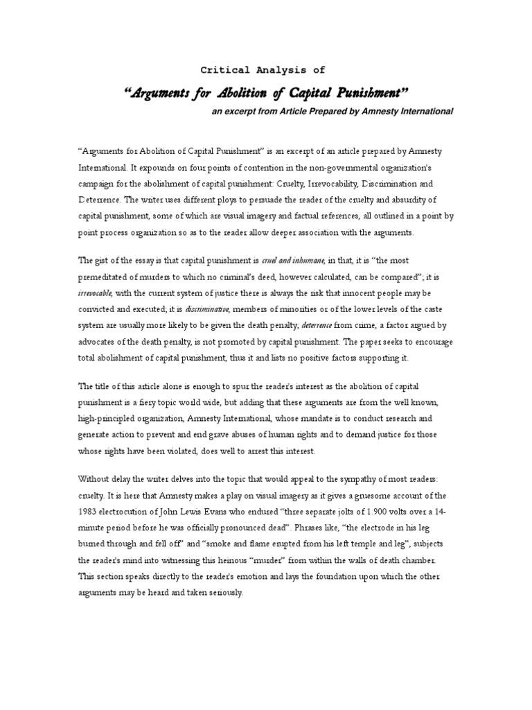 argumentative essay capital punishment