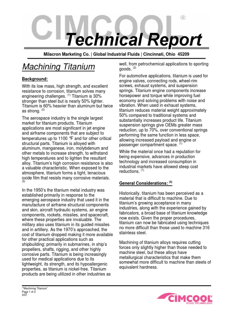 Machining Titanium (Technical Report) by Global Industrial