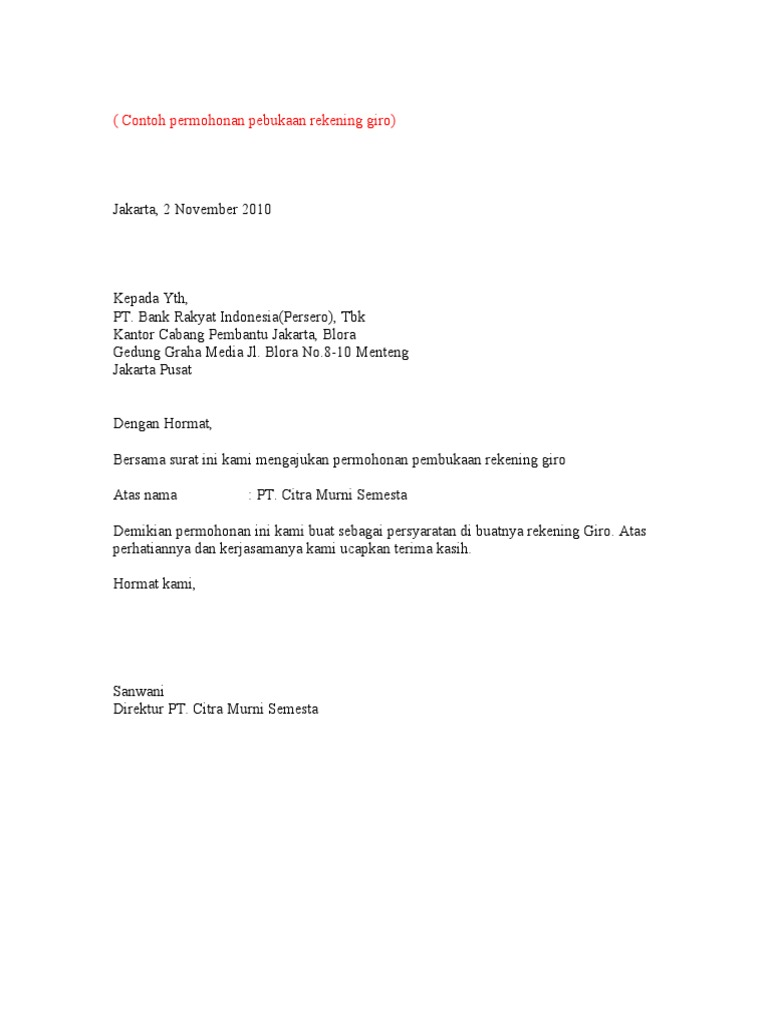 Contoh Surat Kuasa Kliring Giro Surat 29