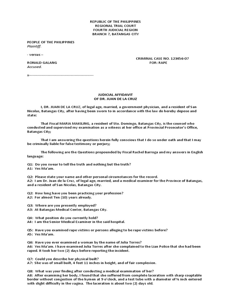 Judicial affidavit of the medical examiner for rape case perjury judicial affidavit of the medical examiner for rape case perjury common law altavistaventures Image collections