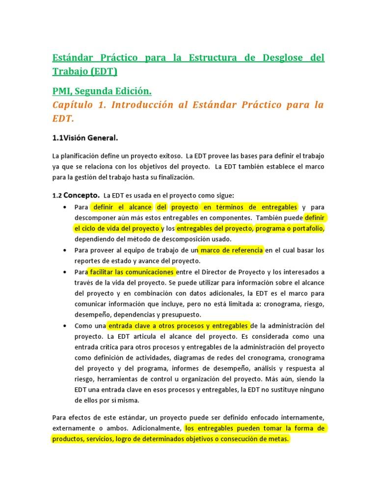 Estándar Práctico EDT (WBS)