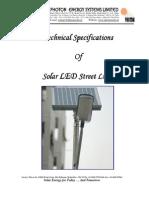 Solar LED Street Light - Technical Specs