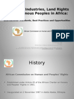 Extractive Industries, Land Rights and Indigenous Peoples in Africa.
