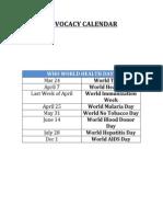 Advocacy Calendar