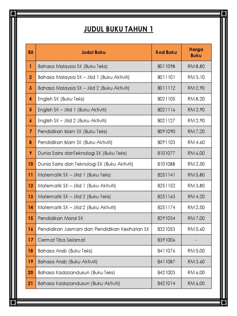 Senarai Buku Teks Tahun 1 6