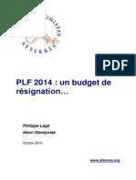 Le PLF 2014 un budget de résignation