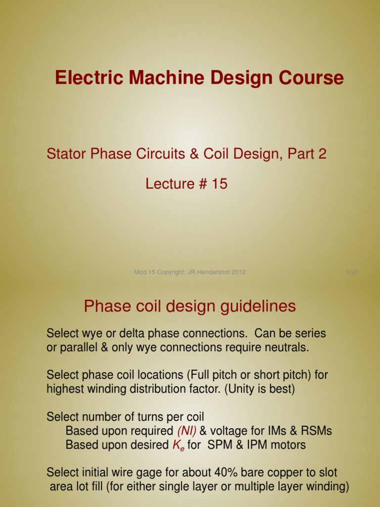 Lecture15 Stator Phase Circuits Coil Design Part 2 Inductor Hendershot Wiring Diagram Electrical Conductor
