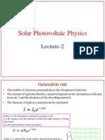 Solar Photovoltaic Physics