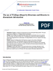 The Use of Weblogs (Blogs) by Librarians and Libraries to Disseminate Information