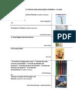 LISTA DE OBRAS E TEXTOS PARA EDUCAÇÃO LITERÁRIA 5º ano