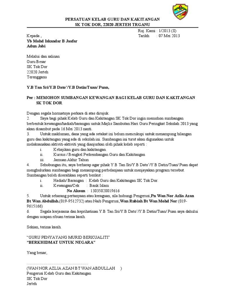 Contoh Surat Mohon Sumbangan
