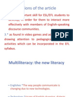 Multimodal Literacy for Teenage EFL Students- NOTES