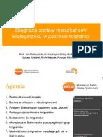 Prezentacja raportu Diagnoza postaw mieszkańców Białegostoku w zakresie tolerancji
