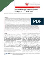 SOhourt Trebporret Ak of Acute Hemorrhagic Conjunctivitis In