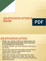 Job Application Letters & Resume