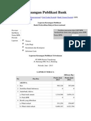 Laporan Keuangan Publikasi Bank Bpr 2013