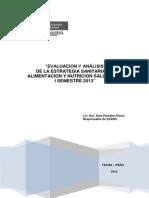 Evaluación I Semestre 2013 - Estrategia Sanitaria de Alimentación y Nutrición DIRESA TACNA
