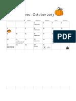 NTX Cares October Calendar