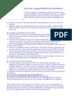 Carga de proyectos - Requerimientos minimos