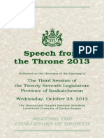 2013 Saskatchewan Throne Speech