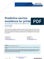 Predictive service excellence for printing