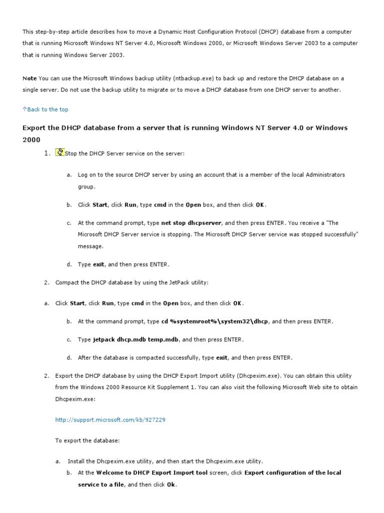 DHCP Database Migration | Windows Registry | Backup