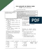 Auto evaluación de números reales 3º ESO