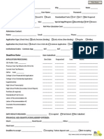 College Application Fact Organization Worksheet Fillable PDF