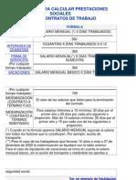 FÓRMULAS PARA CALCULAR PRESTACIONES SOCIALES