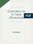Hortulain - Explication de la Table d'Émeraude