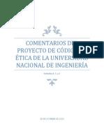 COMENTARIOS DEL PROYECTO DE CÓDIGO DE ÉTICA DE LA (1) (1)
