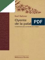 Oyente de La Palabra. Rahner.