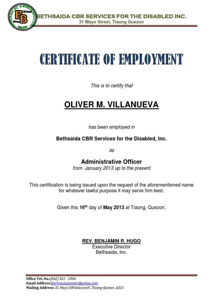 Certificate Of Employment Sample Docx