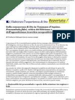 Umberto Galeazzi, Sulla Conoscenza Di Dio in Tommaso d'Aquino. Praeambula Fidei, Critica Del Fideismo e Dell'Agnosticismo Teore