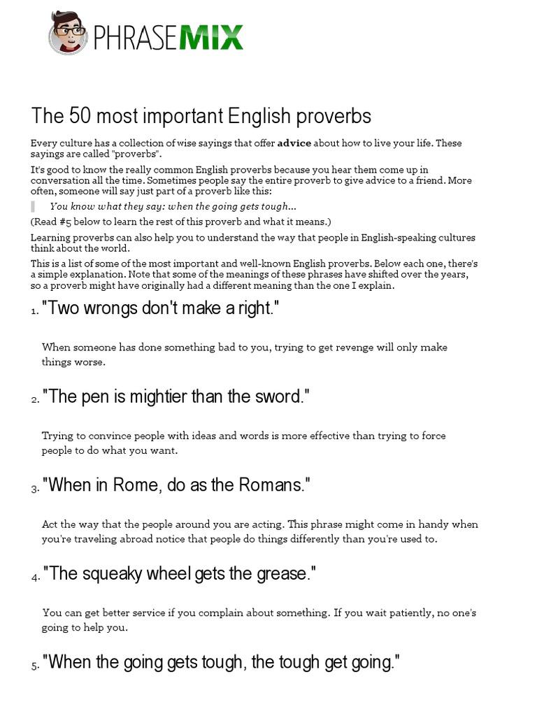 The 50 most important English proverbs _ PhraseMix pdf