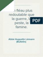 l'Abbé Augustin Lémann - Un fléau plus redoutable que la guerre, la peste, la famine