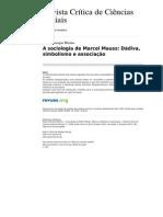 Rccs 954 73 a Sociologia de Marcel Mauss Dadiva Simbolismo e Associacao