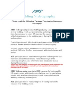 KMK Wedding Videography Package Pricing