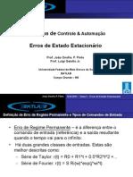 Sistemas de Controle e Automação 2013 - Tema 3 - Erro de Regime Estacionário