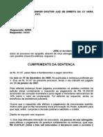 PRÁTICA JURÍDICA II - MODELO DE CUMPRIMENTO DE SENTENÇA