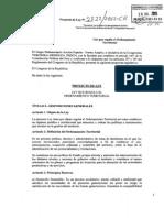 Proyecto de Ley que regula El Ordenamiento Territorial