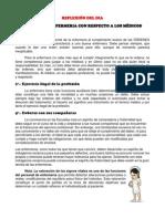 DEBERES DE ENFERMERIA CON RESPECTO A LOS MÉDICOS