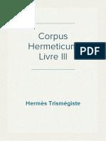 Hermès Trismégiste - Corpus Hermeticum III
