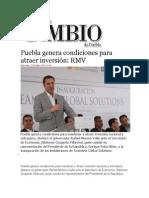 23-10-2013 Diario Matutino Cambio de Puebla - Puebla genera condiciones para atraer inversión, RMV