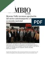 23-10-2013 Diario Matutino Cambio de Puebla - Moreno Valle reconoce aportación del sector autotransporte a la economía nacional