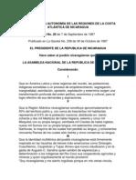 ESTATUTO DE LA AUTONOMÍA DE LAS REGIONES DE LA COSTA ATLÁNTICA DE NICARAGUA